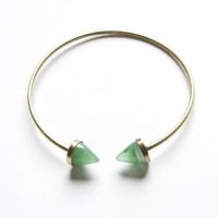 Open green studs bangle