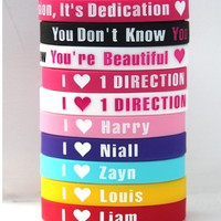 Wholesale - 10pcs I heart one direction Silicone Bracelets wristband 1D Fan hand ring Bangle one direction Cuff