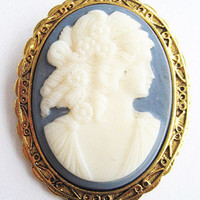 Vintage Blue & White Revival Cameo Pin or Pendant Signed Berebi