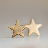Twinkle Gold Star Stud Earrings With Sterling Silver Posts FREE SHIPPING