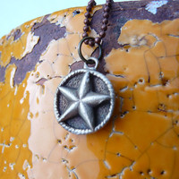 Texas lone star country cowgirl pendant, made from mold of vintage button out of pure bronze