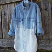 90s grunge denim shirt / long sleeve / blue denim / dip dye / oversized / Ombre bleached denim shirt / jean jacket / UNISEX