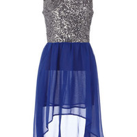 Blue contrast sequin dip dress - Party Dresses  - Dresses