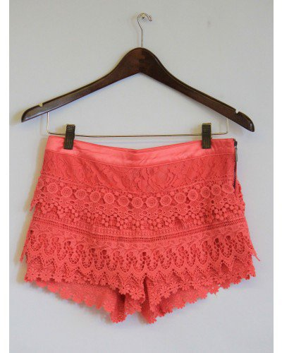 Lovely Coral Pink Crochet Shorts