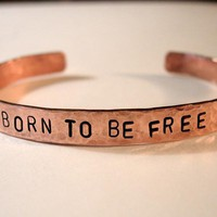 "Copper Bracelet ""BORN TO BE FR.. on Luulla"