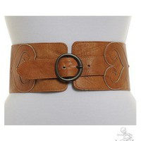 Tobacco 1990's (circa)  1990's Waspie Belt Belts | Beyond Retro Vintage Clothing