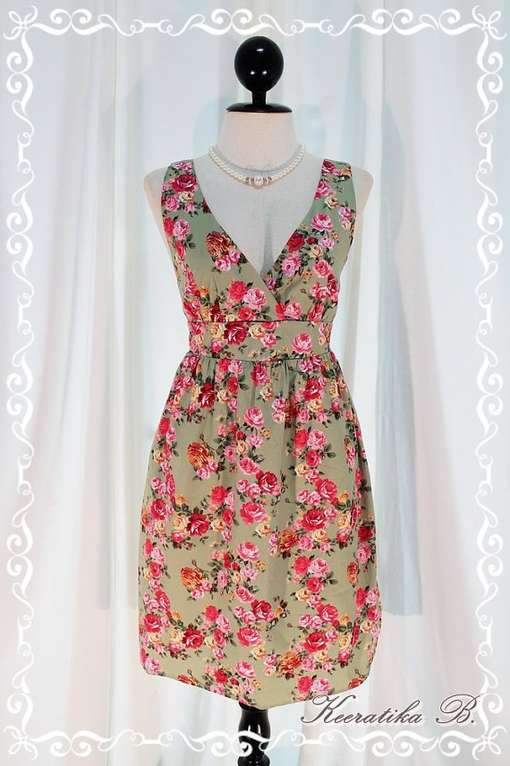 Miss Floral - Spring Summer Sundress Olive Green Background Playful Floral Print Pink Sash S-M
