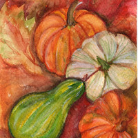 Original  Fall Gourds, Pumpkins, and Leaves original watercolor painting