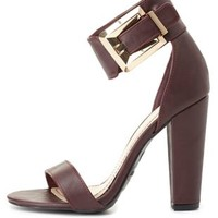 Bamboo Buckled Single Strap Chunky Heels by Charlotte Russe - Oxblood