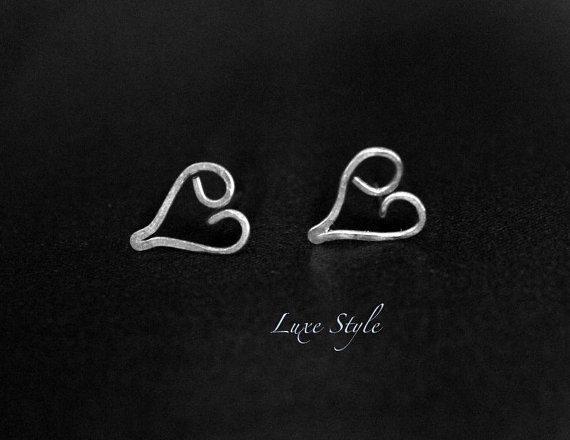 Love Ear Rings Sterling Silver Metal Jewelry Heart Ear Rings Wire Handmade Luxe Style
