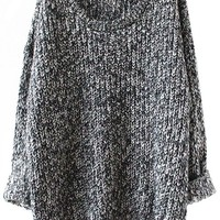 Sheinside Grey Long Sleeve Loose Sweater (one size, Grey)