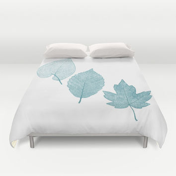 Cyan Leaves 2 Duvet Cover by Heart of Hearts Designs