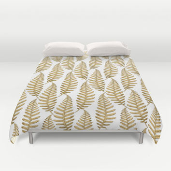 Gold Leaf Pattern Duvet Cover by Heart of Hearts Designs