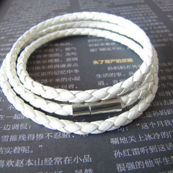3 Circles White Leather Bracelet Adjustable Cuff 430S