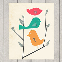 Nursery Art Print - Balancing Birds - 8x10