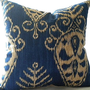 Ikat  Pillow cover,  Sapphire Navy 18x18 pillow cover