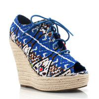 tribal print espadrille wedges