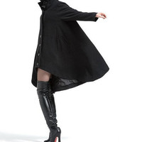 Black single breasted cloak wool coat