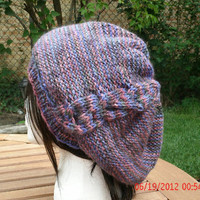 Hand Knit Hat - The Cableret - Womens Hat in Purple mix - Fall, Winter Accessories - Beret - Back to School