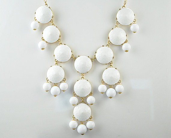White Bubble Bib Necklace, Bubble Necklace, Bubble Jewelry, Bright White Necklace, White facet (Fn0508-White)