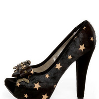 Naughty Monkey Isla Bonita Black Star Pony Fur Platform Heels - $104.00