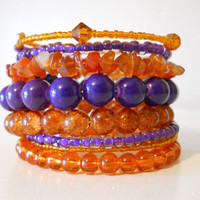 Outrageous Orange & Purple Halloween Stacked Bracelet Beaded Wrap Bracelet
