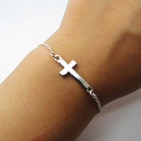Adjustable silvery crossing metal chain bracelet Cool Bracelet Mens Bracelets Cross Bracelet Womens Bracelet  Mens Bracelet 1060S
