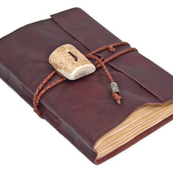 Burgundy Leather Journal with Tea Stained Paper