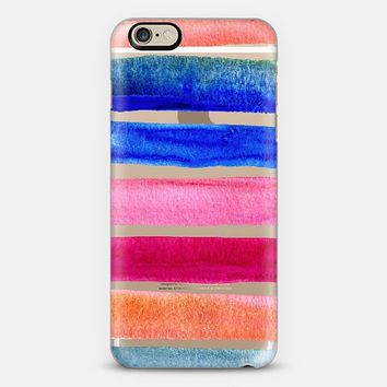 Beach Stripes - bold watercolor brights on transparent iPhone 6 case by Micklyn Le Feuvre | Casetify