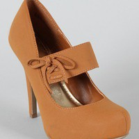 Bamboo Olisa-06 Mary Jane Almond Toe Pumps
