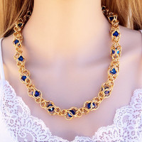 Elegant & Timeless Chain Maille Necklace with Captive Swarovski Crystals in Gold and Sapphire Blue. Great for all occasions.