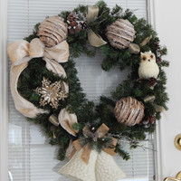 Winter Bells Christmas Wreath- Christmas Décor- Front Door Wreath- Holiday Wreath- Snow Covered Twig Ornaments-Snowflake Wreath-Etsy Wreath