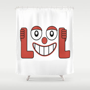 Laughing Out Loud Illustration Shower Curtain by DFLC Prints