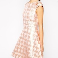 Ted Baker Party Dress in Metallic Check at asos.com