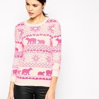 Ted Baker Fair Isle Sweater in Neon Pink