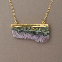 Double Connected Gold Amethyst Stalactite Slice Necklace