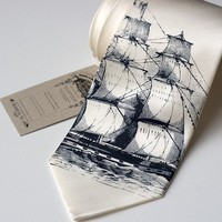 Clipper ship silk necktie, navy ink on ivory tie.  Silkscreen nautical print boat tie.