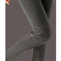 Black Leopard Faux Leather Skinny Leggings