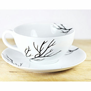 Hand Painted Porcelain Cappuccino Cup and Saucer Hand Painted Cup White Ceramic Black botanical design Modern Minimalist Kitchen Decor