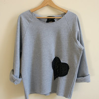 Medium Grey Sweatshirt with Black Lace Heart and Bow in back - Slouchy and Comfy