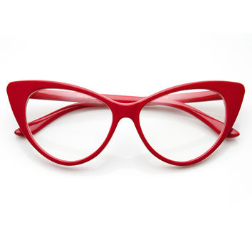 TWIGGY CAT EYE RETRO CLEAR FRAMES - RED - from shopflyjane.com