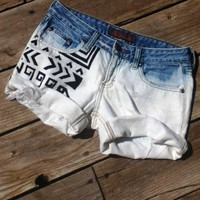 The Wanderlust Short - Tribal Aztec Print in Black, Bleached &amp; Destroyed Ombre Cuffed Denim Cut Off