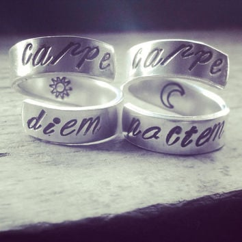 Carpe diem carpe noctem latin quotes  meaning seize the  day and seize the night two aluminum rings 1/4 inch wide