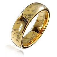 Bling Jewelry Lord of The Rings Style Gold Plated Polished Tungsten Ring Pendant 7mm