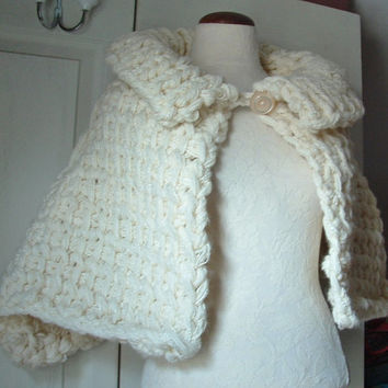 Tall collar capelet cape wrap shawl super chunky tunisian crochet with ribbed collar front button one size fits most M L women in white