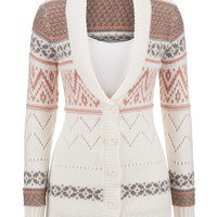 Patterned button down cardigan with collar