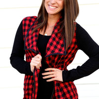 Plaid + Leather Open Cardi