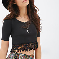 Crochet-Trimmed Boxy Top