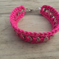 Hot Pink Crochet  Pop Tab Bracelet