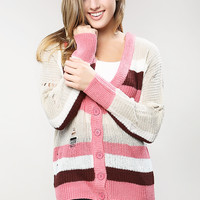 Torn Graduated Stripe Cardigan